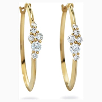 Glacial Hoop Earrings, Swarovski Created Diamonds, 18K Yellow Gold - Swarovski, 5517823