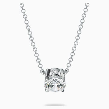Essentials 1/4 CT Solitaire Pendant, Swarovski Created Diamonds, 18K White Gold - Swarovski, 5517830