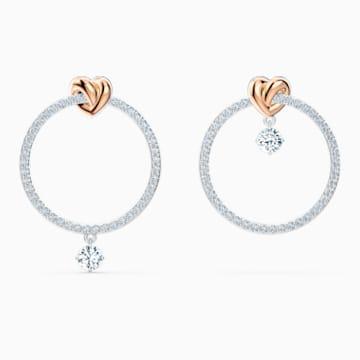 Lifelong Heart 穿孔耳環, 白色, 多種金屬潤飾 - Swarovski, 5517933