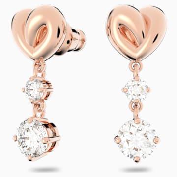 Pendientes Lifelong Heart, blanco, baño tono oro rosa - Swarovski, 5517942