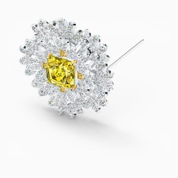 Broșă Eternal Flower, galbenă, finisaj metalic mixt - Swarovski, 5518147