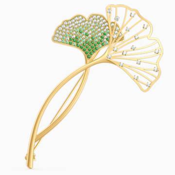 Broszka Stunning Ginko, zielona, powłoka w odcieniu złota - Swarovski, 5518174