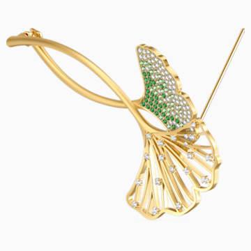 Stunning Ginko bross, zöld, arany árnyalatú bevonattal - Swarovski, 5518174