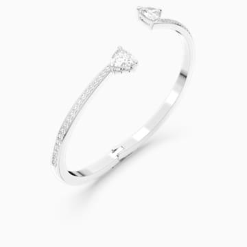 Kruhový náramek Attract Soul Heart, bílý, rhodiovaný - Swarovski, 5518814