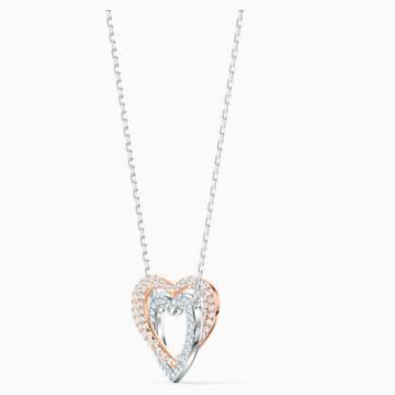 Collier Swarovski Infinity Double Heart, blanc, finition mix de métal - Swarovski, 5518868