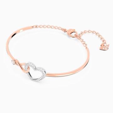 Brazalete Swarovski Infinity Heart, blanco, combinación de acabados metálicos - Swarovski, 5518869