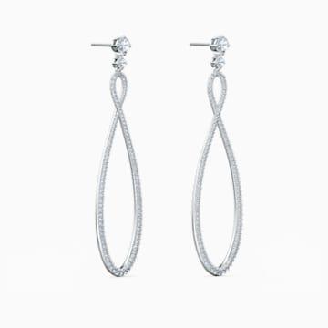 Swarovski Infinity 穿孔耳环, 白色, 镀铑 - Swarovski, 5518878