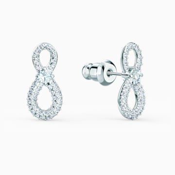 Swarovski Infinity Mini 穿孔耳环, 白色, 镀铑 - Swarovski, 5518880