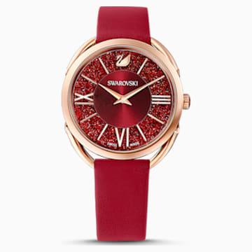 Zegarek Crystalline Glam, pasek ze skóry, czerwony, powłoka PVD w odcieniu różowego złota - Swarovski, 5519219
