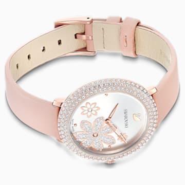 Crystal Frost 腕表, 真皮表带, 粉红色, 玫瑰金色调 PVD - Swarovski, 5519223