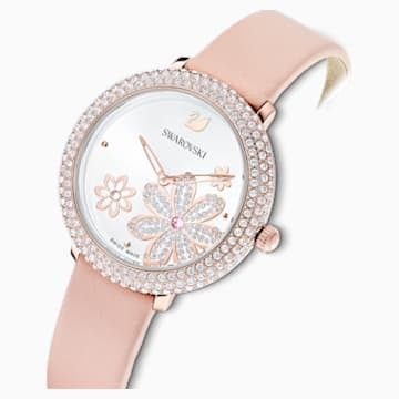 Crystal Frost-horloge, Leren horlogebandje, Roze, Roségoudkleurig PVD - Swarovski, 5519223