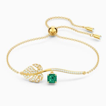 Tropical Bracelet, Green, Gold-tone plated - Swarovski, 5519234