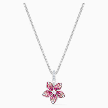 Přívěsek Tropical Flower, růžový, rhodiovaný - Swarovski, 5519248
