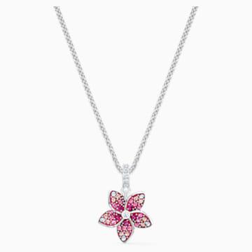 Tropical Flower 鏈墜, 粉紅色, 鍍白金色 - Swarovski, 5519248
