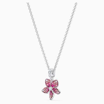 Pendente Tropical Flower, rosa, placcato rodio - Swarovski, 5519248