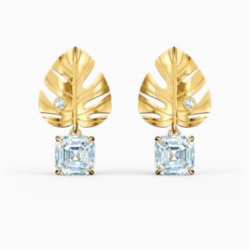 Boucles d'oreilles Tropical Leaf, blanc, métal doré - Swarovski, 5519253