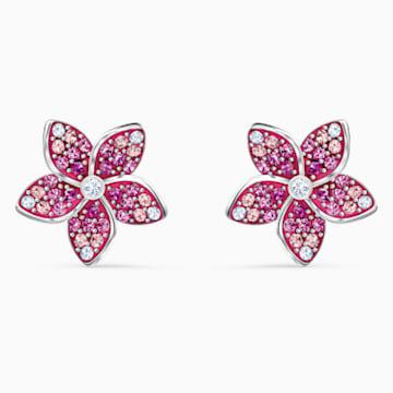 Pendientes Tropical Flower, rosa, baño de rodio - Swarovski, 5519254