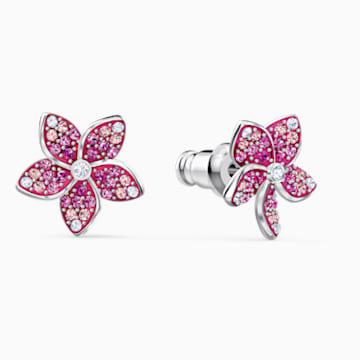 Tropical Flower Ohrringe, rosa, rhodiniert - Swarovski, 5519254