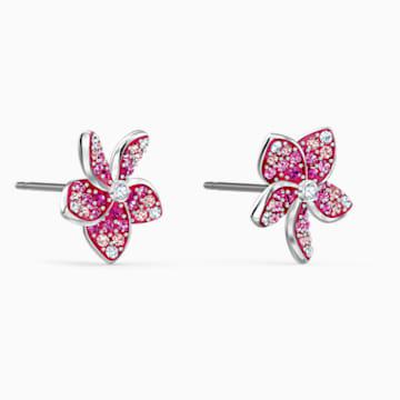 Tropical Flower Серьги, Розовый Кристалл, Родиевое покрытие - Swarovski, 5519254