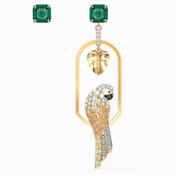 Pendientes Tropical Parrot, colores claros, baño tono oro - Swarovski, 5519255