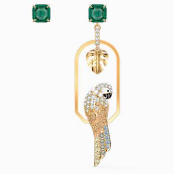 Tropical Parrot 穿孔耳环, 浅色渐变, 镀金色调 - Swarovski, 5519255