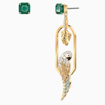 Tropical Parrot 穿孔耳環, 淺色漸變, 鍍金色色調 - Swarovski, 5519255