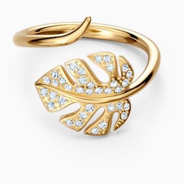 Tropical Leaf nyitott gyűrű, fehér, arany árnyalatú bevonattal - Swarovski, 5519257