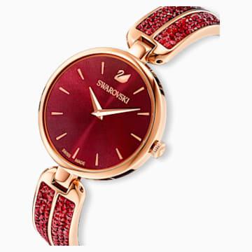 Montre Dream Rock, bracelet en métal, rouge, PVD doré rose - Swarovski, 5519312