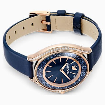 Crystalline Aura Watch, Leather strap, Blue, Rose-gold tone PVD - Swarovski, 5519447