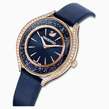 Orologio Crystalline Aura, cinturino in pelle, azzurro, PVD oro rosa - Swarovski, 5519447