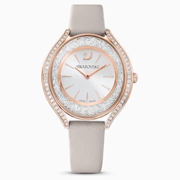 Crystalline Aura 腕表, 真皮表带, 灰色, 玫瑰金色调 PVD - Swarovski, 5519450