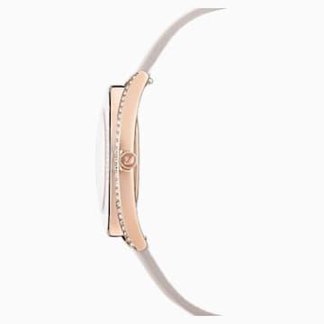 Zegarek Crystalline Aura, pasek ze skóry, szary, powłoka PVD w odcieniu różowego złota - Swarovski, 5519450