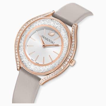 Reloj Crystalline Aura, correa de piel, gris, PVD tono oro rosa - Swarovski, 5519450