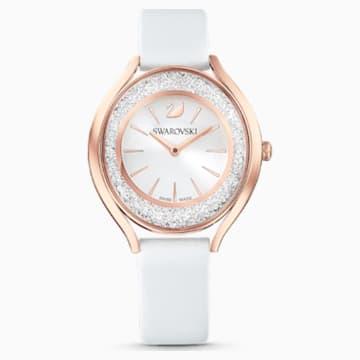 Hodinky Crystalline Aura, s koženým páskem, bílé, PVD v odstínu růžového zlata - Swarovski, 5519453