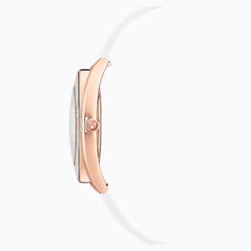 Montre Crystalline Aura, bracelet en cuir, blanc, PVD doré rose - Swarovski, 5519453