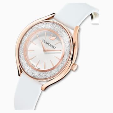 Crystalline Aura karóra, bőrszíj, fehér, rozéarany árnyalatú PVD - Swarovski, 5519453