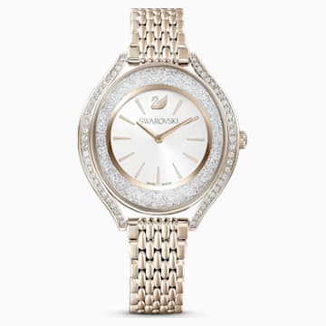 Orologio Crystalline Aura, bracciale di metallo, tono dorato, PVD tonalità oro champagne - Swarovski, 5519456