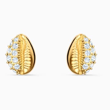 Nice Stud bedugós fülbevaló, fehér, arany árnyalatú bevonattal - Swarovski, 5520471