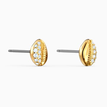Pendientes de botón Shell, blanco, baño tono oro - Swarovski, 5520471
