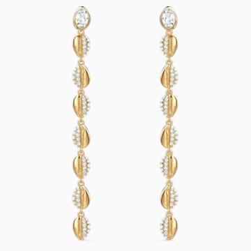 Pendientes Shell Cowrie, blanco, baño tono oro - Swarovski, 5520474