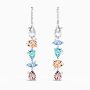 Sunny Hoop Pierced Earrings, Light multi-coloured, Rhodium plated - Swarovski, 5520490