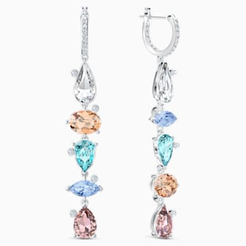 Sunny Hoop Pierced Earrings, Light multi-colored, Rhodium plated - Swarovski, 5520490