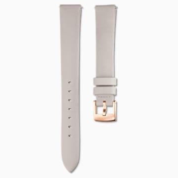 Cinturino per orologio 14mm, Pelle, grigio chiaro, placcato color oro rosa - Swarovski, 5520530