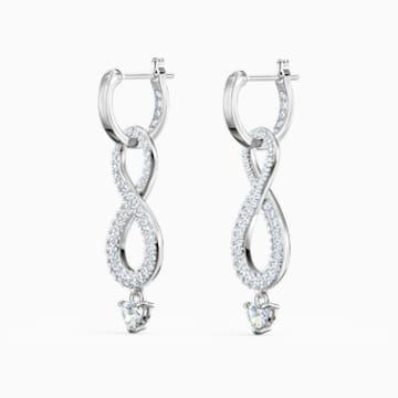 Swarovski Infinity 穿孔耳环, 白色, 镀铑 - Swarovski, 5520578