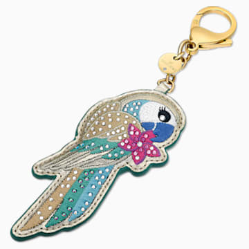 Tropical Parrot Bag Charm, Dark multi-colored, Gold-tone plated - Swarovski, 5520615