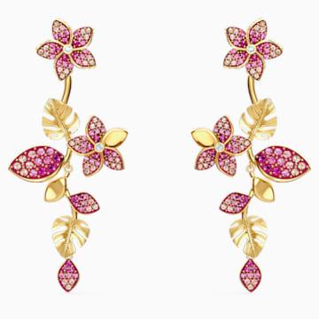 Tropical Flower 穿孔耳环, 粉红色, 镀金色调 - Swarovski, 5520648