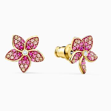 Kolczyki sztyftowe Tropical Flower, różowe, w odcieniu złota - Swarovski, 5520648