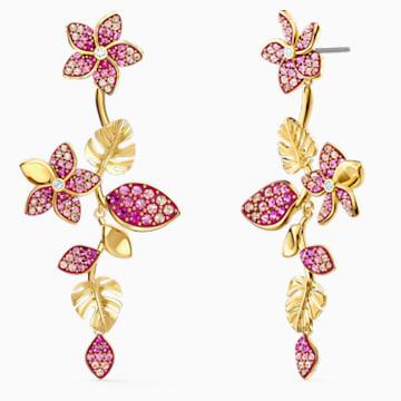 Pendientes Tropical Flower, rosa, baño tono oro - Swarovski, 5520648