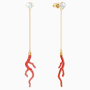 Boucles d'oreilles Shell Coral, rouge, métal doré - Swarovski, 5520662