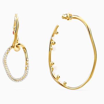 Shell 穿孔耳環, 大碼, 淺色漸變, 鍍金色色調 - Swarovski, 5520663